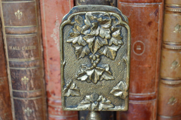 Antique French Match Safe Tabletop Stand Gilt Brass Grape Leaves - Antique Flea Finds - 3