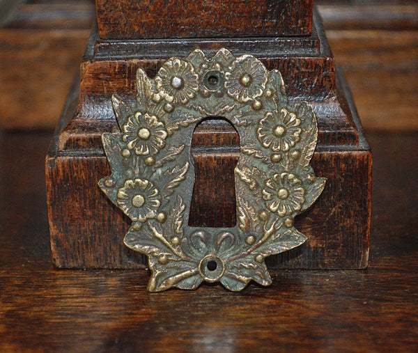 Antique Escutcheon French Brass Floral Keyhole Hardware - Antique Flea Finds