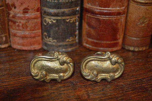 Antique Pair of Knobs French Brass Furniture Cabinet Doors Hardware - Antique Flea Finds - 2