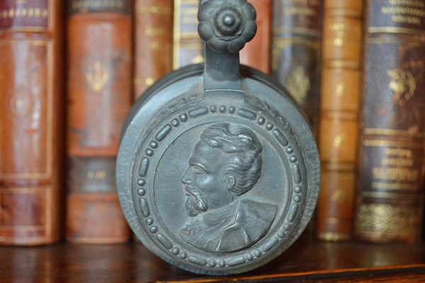 Antique Stein German Pewter Lidded 1887 Male Relief Portrait Dedication Inscription - Antique Flea Finds - 3