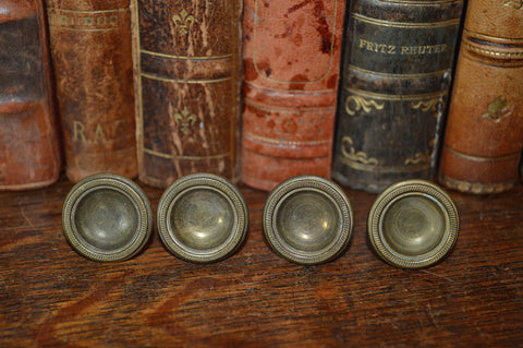 Antique Knobs Set of 4 Small French Brass Hardware - Antique Flea Finds - 1