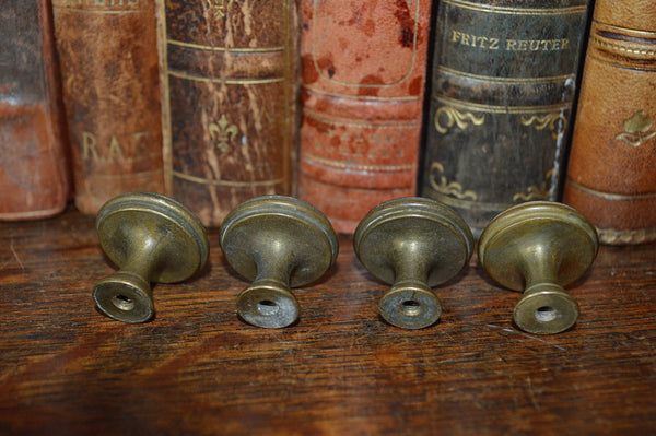 Antique Knobs Set of 4 Small French Brass Hardware - Antique Flea Finds - 3