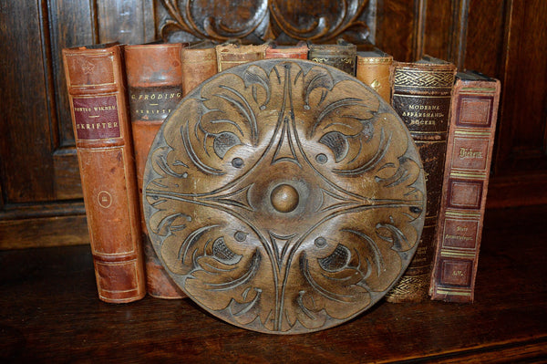 Antique Wood Rosette Medallion Large French Carved Oak Acanthus - Antique Flea Finds - 1