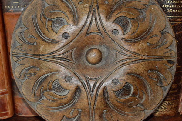 Antique Wood Rosette Medallion Large French Carved Oak Acanthus - Antique Flea Finds - 2