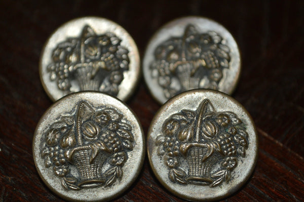 Antique Victorian Buttons Set of 4 Fruit Basket in Silver - Antique Flea Finds - 2