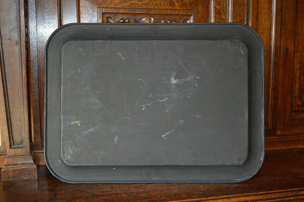 Antique Black Tole Tray Fruit Grapes - Antique Flea Finds