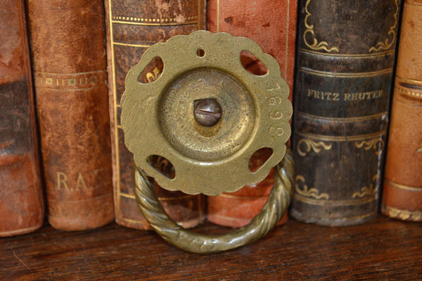 Antique Ring Drawer Pull with Backplate Handle Brass Hardware - Antique Flea Finds - 3