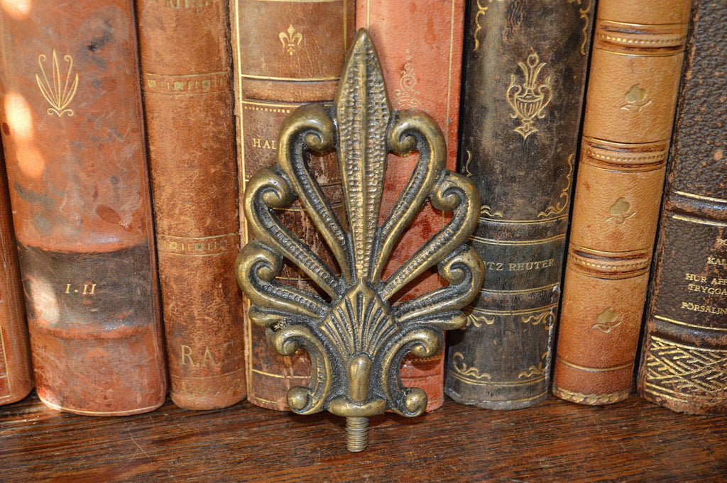 Antique French Finial Brass Palm Leaf Trim Hardware - Antique Flea Finds - 1