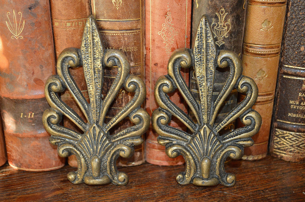 Antique French Pair Brass Palm Leaves Pediment Trim Hardware - Antique Flea Finds - 1