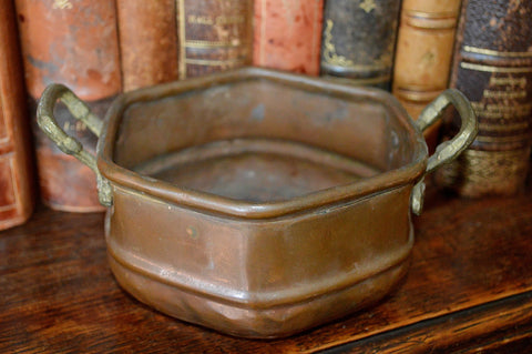 Antique Small French Copper Pot Bronze Handles Rustic French Country - Antique Flea Finds - 1