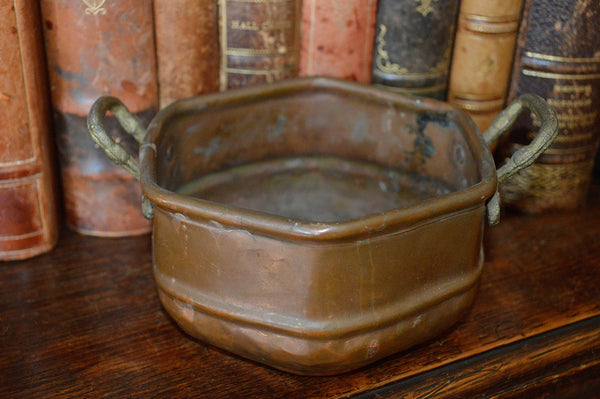 Antique Small French Copper Pot Bronze Handles Rustic French Country - Antique Flea Finds - 2