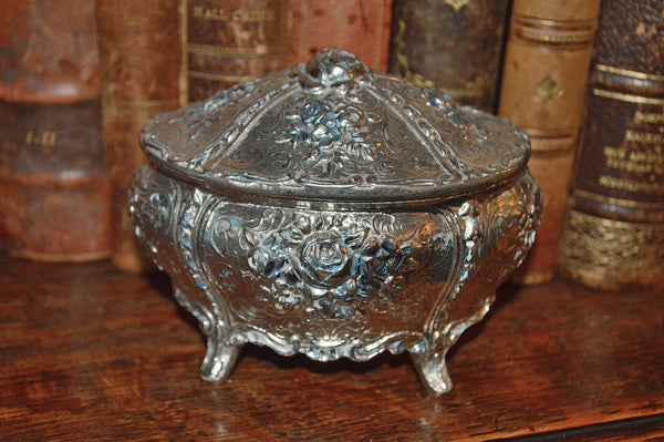 Vintage French Jewelry Box Silver Finish Rose Design - Antique Flea Finds - 1