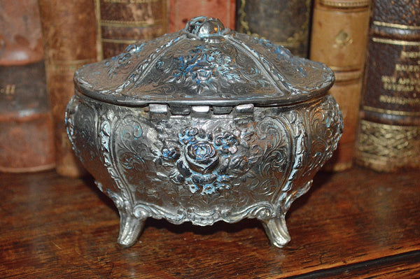 Vintage French Jewelry Box Silver Finish Rose Design - Antique Flea Finds - 3