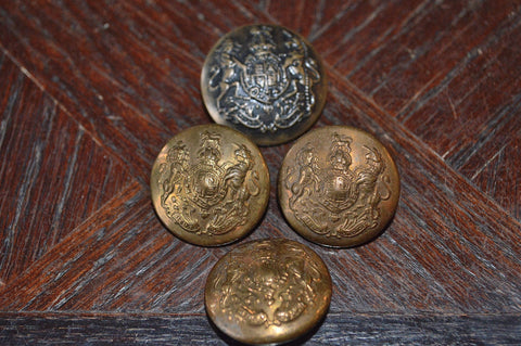 Antique Brass Buttons English Military Crest Set of 4 - Antique Flea Finds