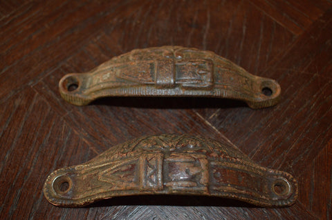 Antique Pair English Drawer Bin Pulls Handles Cast Iron Belt Buckle Detail - Antique Flea Finds - 1