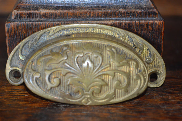 Antique French Bronze Cup Bin Pull Cabinet Drawer Handle Hardware - Antique Flea Finds