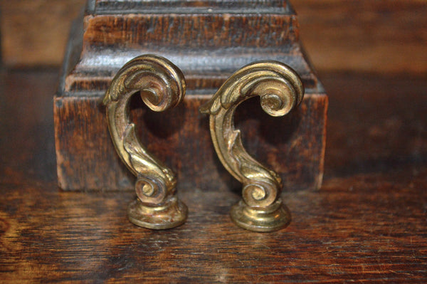 Antique Pair French Hooks Brass Drapery Tie Backs Brackets Hardware - Antique Flea Finds - 1