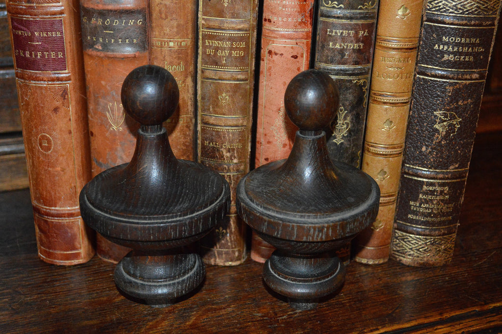 Antique Pair French Architectual Finials Dark Turned Wood Top Style - Antique Flea Finds - 1