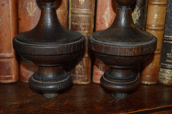 Antique Pair French Architectual Finials Dark Turned Wood Top Style - Antique Flea Finds - 2