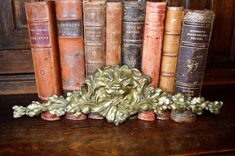 Antique French Lion Head Pediment Ormolu Figural Hardware 2 Available - Antique Flea Finds - 1