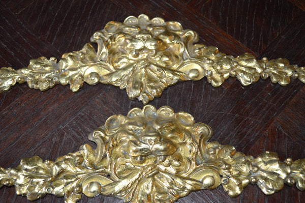 Antique French Lion Head Pediment Ormolu Figural Hardware 2 Available - Antique Flea Finds - 4