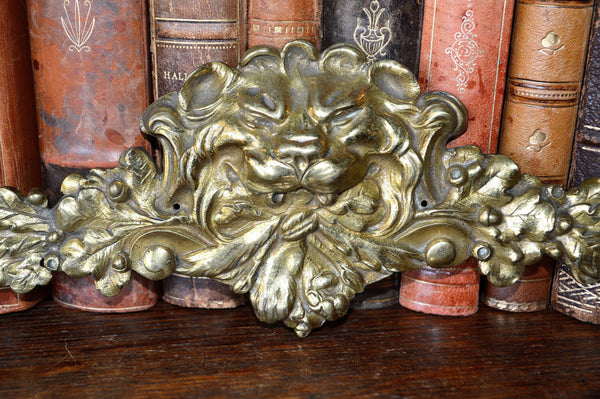 Antique French Lion Head Pediment Ormolu Figural Hardware 2 Available - Antique Flea Finds - 2