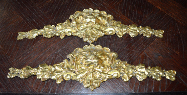 Antique French Lion Head Pediment Ormolu Figural Hardware 2 Available - Antique Flea Finds - 3