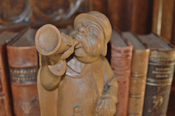 Antique German Carved Wood Figure Night Watchman Gentleman Blowing Horn - Antique Flea Finds - 2