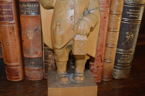 Antique German Carved Wood Figure Night Watchman Gentleman Blowing Horn - Antique Flea Finds - 3