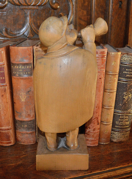 Antique German Carved Wood Figure Night Watchman Gentleman Blowing Horn - Antique Flea Finds - 4