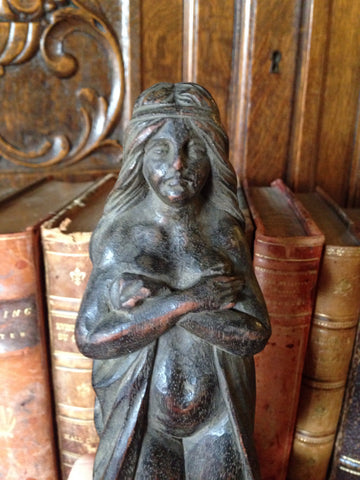 Antique German Carved Wood Caryatid Female Figure Standing On Pedestal Base - Antique Flea Finds - 1