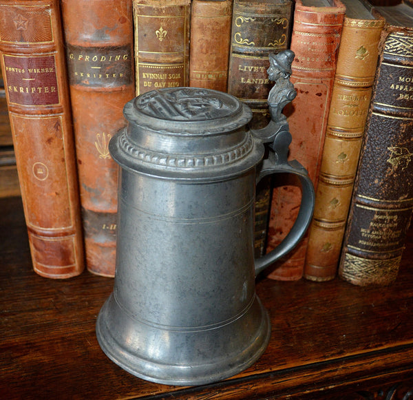 Antique German Pewter Stein Lidded With Relief Design & Figural Handle - Antique Flea Finds - 2