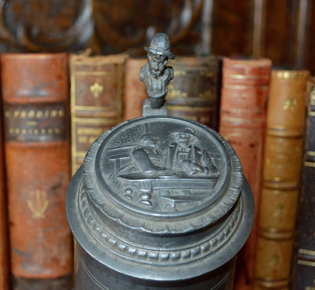 Antique German Pewter Stein Lidded With Relief Design & Figural Handle - Antique Flea Finds - 1