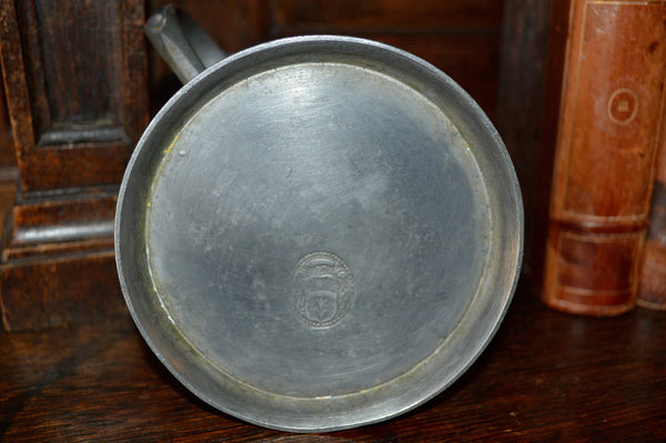 Antique German Pewter Stein Lidded With Relief Design & Figural Handle - Antique Flea Finds - 5