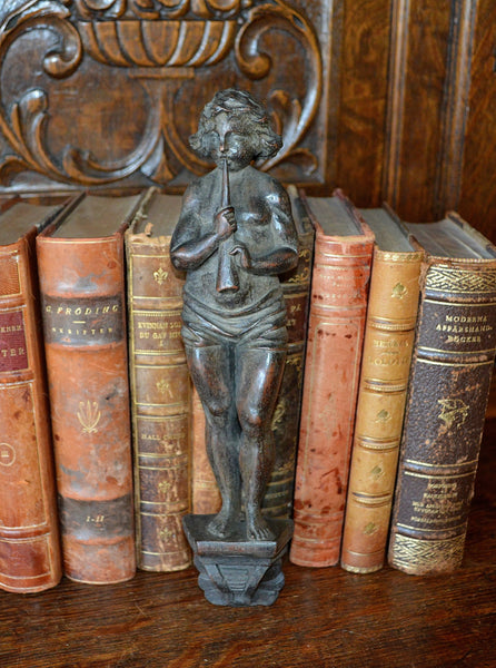 Antique German Carved Wood Caryatid Figural Cherub & Horn on Pedestal - Antique Flea Finds - 1