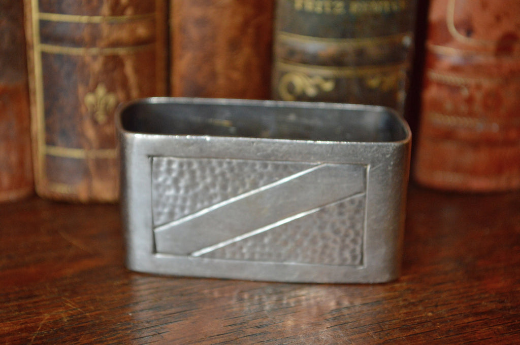 Antique French Hallmarked Napkin Ring Silverplate Serviette No Monogram Hammered Design - Antique Flea Finds - 1