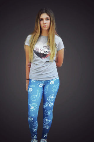 Blue 2 Stroke Leggings