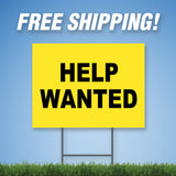 "Help Wanted 18""x24"" Yard Sign & Stake - 2 Sided - E11"