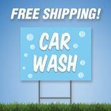 "Car Wash 18""x24"" Yard Sign & Stake - 2 Sided - E12"