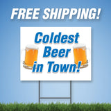 "Cold Beer 18""x24"" Yard Sign & Stake - 2 Sided - E14"