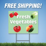 "Fresh Vegetables 18""x24"" Yard Sign & Stake - 2 Sided - E19"