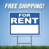 "For Rent 18""x24"" Yard Sign & Stake - 2 Sided - E6"