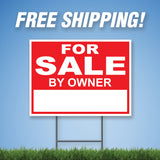 "For Sale 18""x24"" Yard Sign & Stake - 2 Sided - E7"