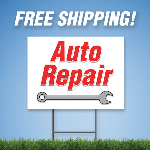 "Auto Repair 18""x24"" Yard Sign & Stake - 2 Sided - E8"