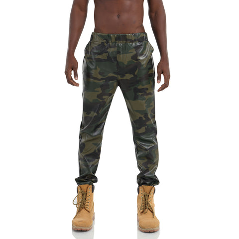 Pizoff Unisex Hipster Elastic Waist Faux Leather Camouflage Casual Sweatpant Jogger Y1715-1