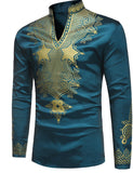 Pizoff Mens Long Sleeve Luxury Design Print Dress Shirt  TB0717-2