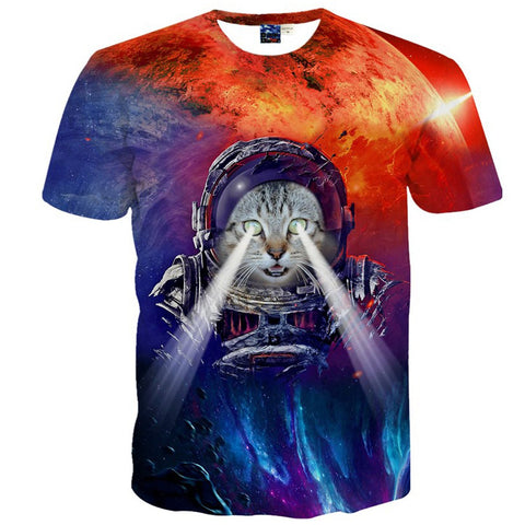 Pizoff Unisex 3D Digital Cat Printing T Shirts Y1625-22