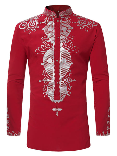Pizoff Mens Long Sleeve Luxury Design Print Dress Shirt  TB0717-4