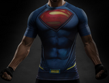Pizoff Superhero Superman Tights Work Out Compression Muscle T-shirt
