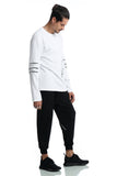 Pizoff Unisex Hipster Long Sleeve Contrast Print Black&White Cotton Sweatshirt T-Shirt AC008